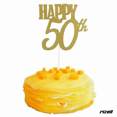 50th Birthday Cake Topper Decorations Party Gold