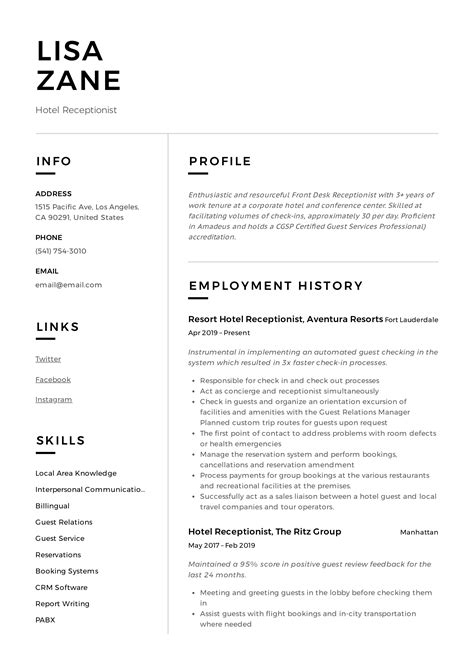hotel receptionist resume writing guide  templates