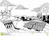 Energy Power Renewable Dam Solar Sources Generation Wind Hydroelectric Coal Nuclear Coloring Hydro Quellen Energia Plants Energie Generazione Fonti Potere sketch template