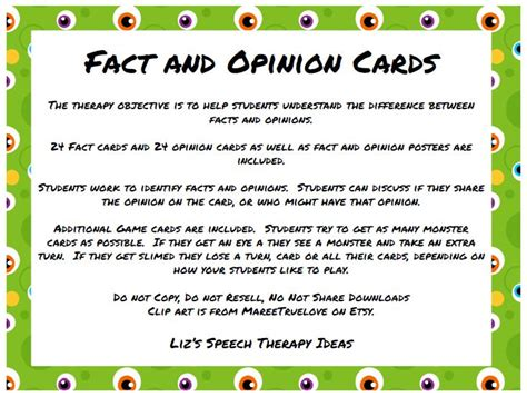 Liz's Speech Therapy Ideas Fact And Opinion Cards