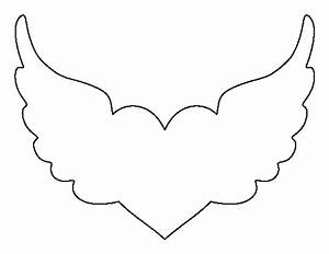 Printable Heart With Wings Template