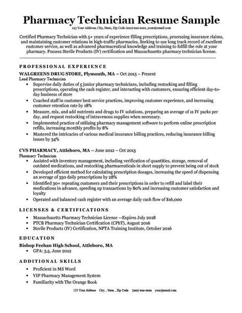 Pharmacy Technician Resume Exle by Pharmacy Technician Resume Sle Tips Resumecompanion