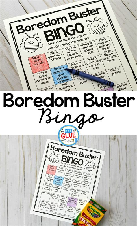 FREE boredom buster bingo So many great ideas for kids to