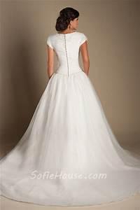 Modest ball gown drop waist tulle beaded wedding dress for Drop waist ball gown wedding dress