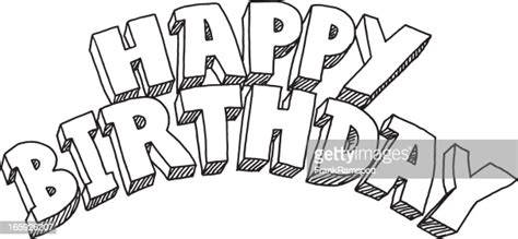 happy birthday lettering drawing high res vector graphic