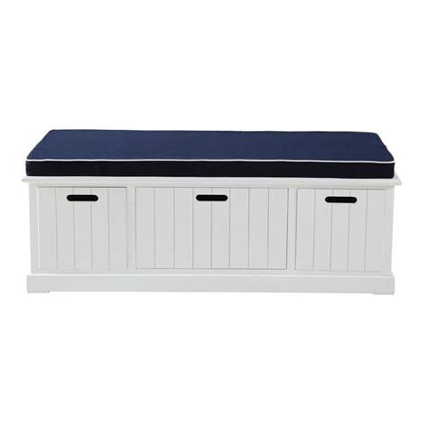 banc coffre de rangement blanc banc de rangement blanc l 130 cm princeton maisons du monde