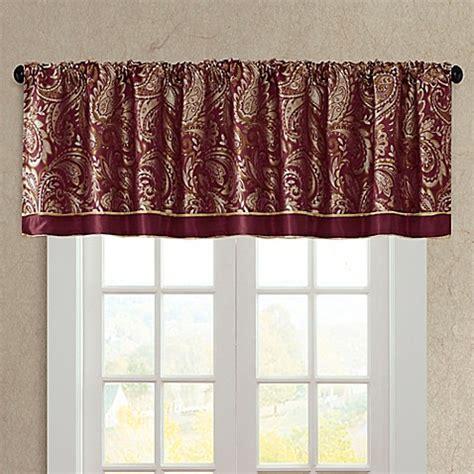 madison park aubrey window valance  burgundy bed bath
