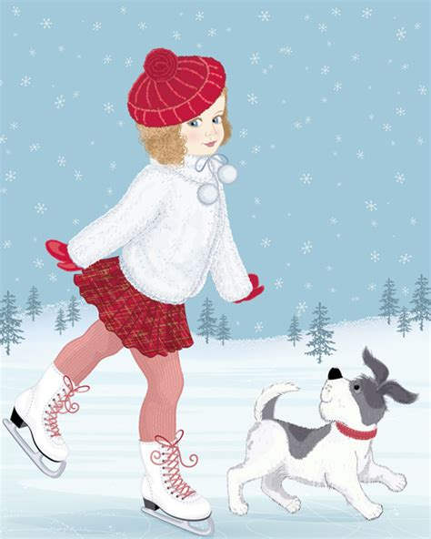 winter  girl  cute dog design vector
