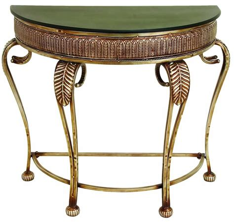 classic wooden top console table  metal cabriole legs
