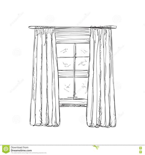 illustration of window and curtains sketch stock vector