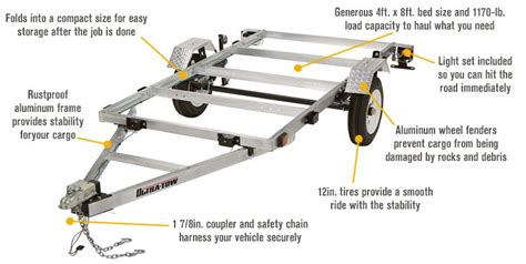 Utility Trailer Lighting Requirements by Ultra Tow 4ft X 8ft Folding Aluminum Utility Trailer Kit