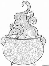 Coloring Cauldron Intricate Vapor Printable Halloween sketch template