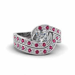 Princess cut swirl pave diamond wedding ring sets with for Princess cut pink diamond wedding rings