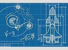 Rocket Blueprint Wallpaper Wall Mural MuralsWallpapercouk