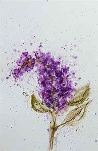 Single Purple Lilac watercolor blossom flower art Giclee ...