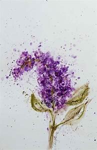 Single Purple Lilac watercolor blossom flower art Giclee ...