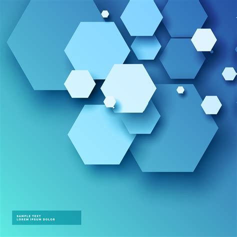 3d Vector Picture by Blue Background With Hexagonal Shapes In 3d Style
