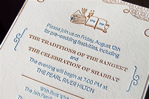 Blue + Copper Invitations For A Hindu Jewish Wedding
