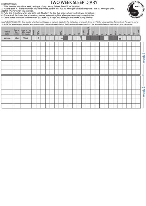 week sleep diary printable