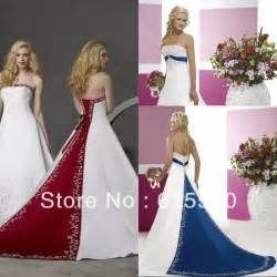 royal blue and white wedding dresses retro style silver embroidery satin white and royal blue wedding dresses free shipping a line
