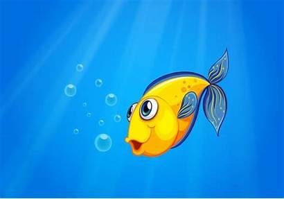 Fish Sea Swimming Under Yellow Vector Deep