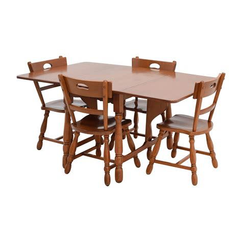 83 maple dining table with four matching chairs