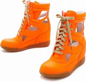 Marc By Marc Jacobs Neon Cutout Wedge Sneakers in Orange
