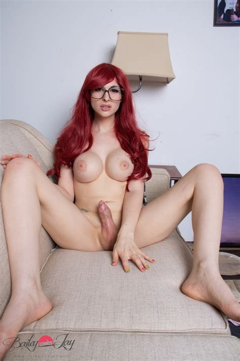 Geeky Redhead Shemale Bailey Jay Strips Nude Pichunter
