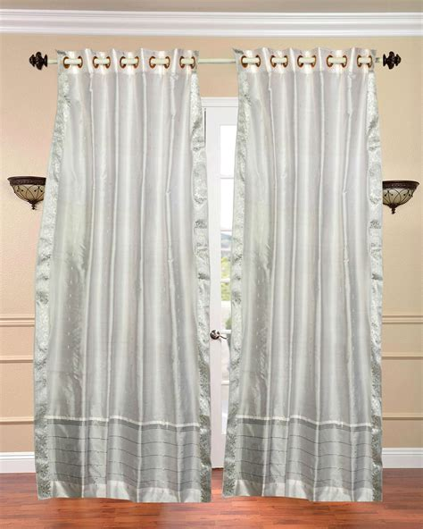 white with silver trim ring top sheer sari curtain drape