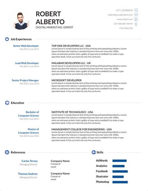 modern resume cv templates minimalist simple