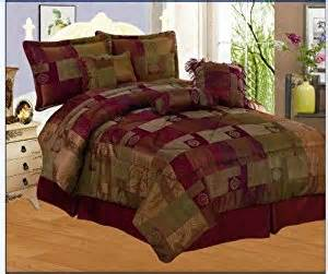 amazon com 7 pieces sage green burgundy gold and eggplant purple chenille comforter set bed
