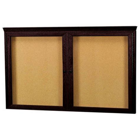 oak cabinet crown molding beechridgecs com walnut stained oak 2 door enclosed bulletin board cabinet