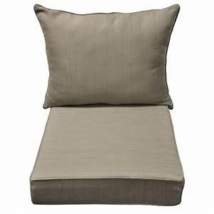 Shop allen + roth Brown/Tan Dining Patio Chair Cushion at