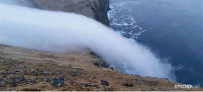 Fog Cliff Waterfall Looks Rolling Down Ghosts