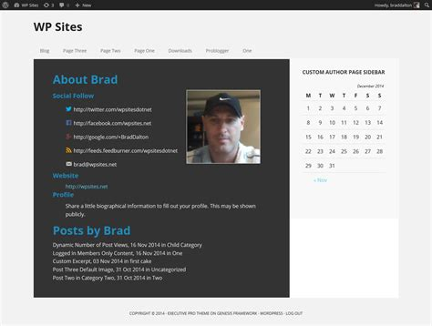 author page template genesis author page template with custom sidebar for genesis