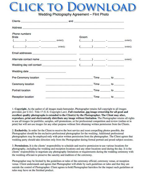 Photography Contract Template Free Printable Wedding Photography Contract Template Form