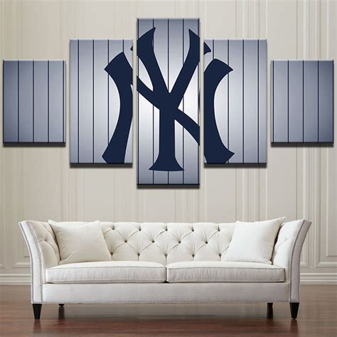 large framed new york yankees baseball canvas wall art home decor five piece posters prints