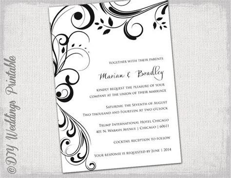wedding invitation templates black  white