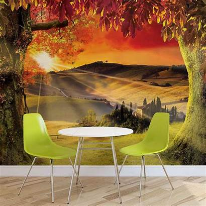 Mural Landscape Italian Giant Wall Sunset Woven
