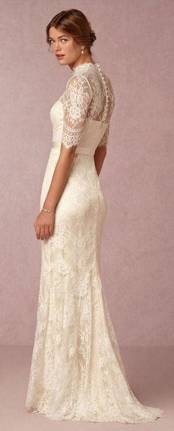 D276 Lace Top High Neck Half Sleeve Wedding Dresses Lace