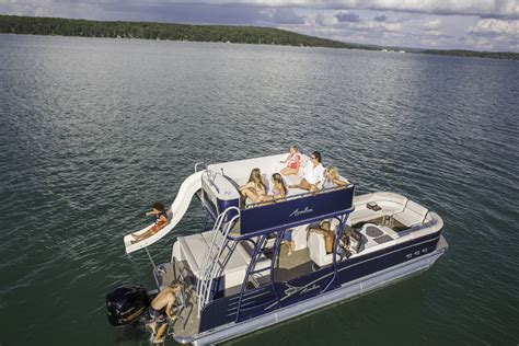 Pontoon With Upper Deck And Slide For Sale by Catalina Platinum Funship Pontoon Boat Avalon Pontoon Boats