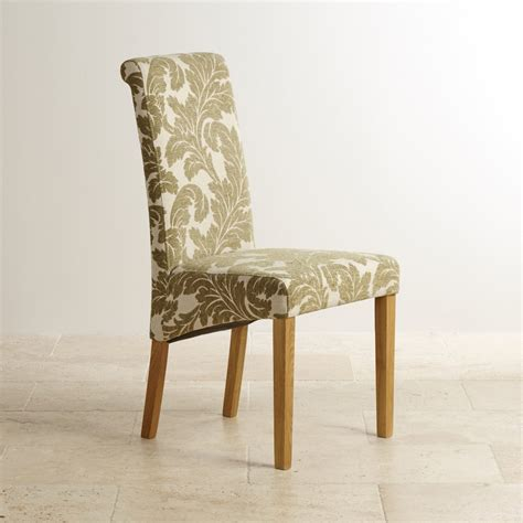 scroll back dining chair in solid oak patterned fabric