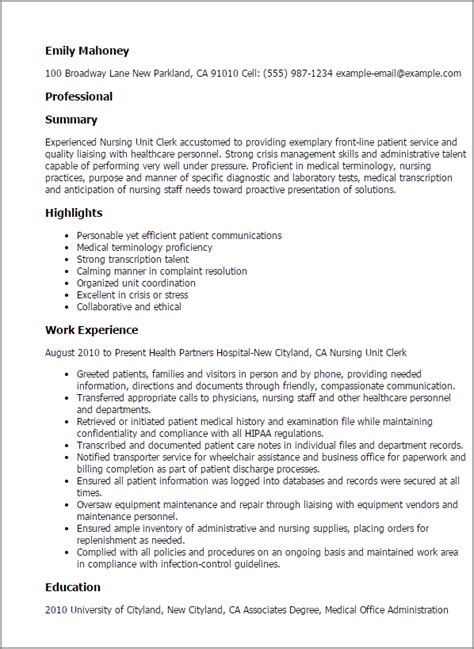 professional nursing unit clerk templates to showcase your