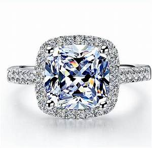 hot sale popular 2 carat brilliant cushion cut halo style With synthetic diamond wedding rings