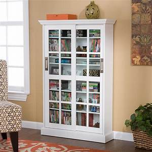 SEI Sliding Door Media Cabinet White