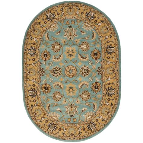 Blue Oval Rug by Safavieh Heritage Blue Gold 4 Ft 6 In X 6 Ft 6 In Oval