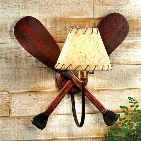 Rustic Lamps: Paddle Wall Lamp Black Forest Decor