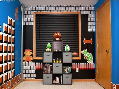 Wall Shelves For Boys Room Super Mario Bros Bedroom Ideas