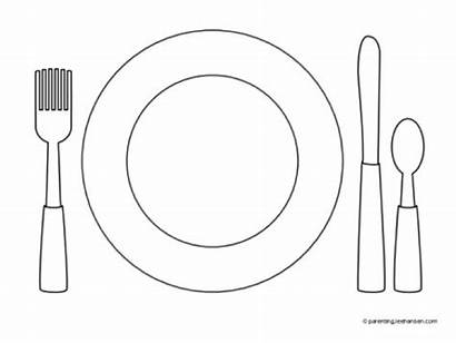 Plate Dinner Coloring Preschool Pages Template Place