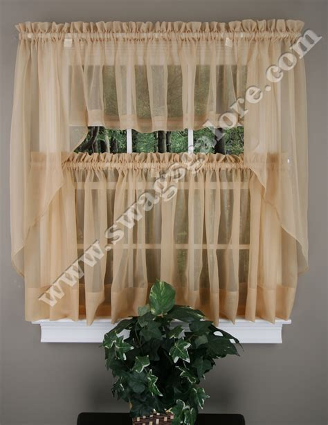 Elegance Sheer Tiers, Swags, Valance, Chocolate